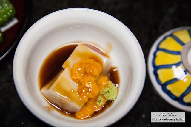 Sesame tofu with sea urchin and wasabi soy sauce