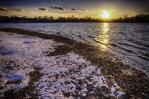 buckscounty fedesk8 federicoscotto fujifilmxm1 lake snow sunset winter federicoscotto©2017 morrisville pennsylvania unitedstates us