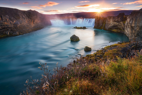iceland island godafoss waterfall sunset water longexposure travel nordic autumn fall sony a7r