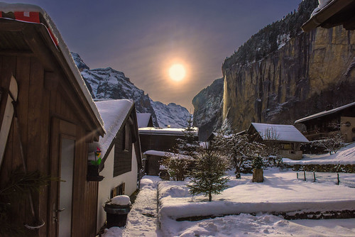 lauterbrunnen staubbach fall at winter time canton of b. Black Bedroom Furniture Sets. Home Design Ideas