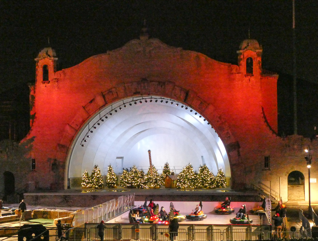 The Lights Before Christmas.Amphitheater And Bumper Cars On Ice At The Lights Before C