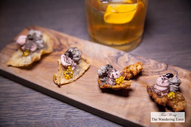Chicken liver mousse, black trumpet, chicharron, black cherry