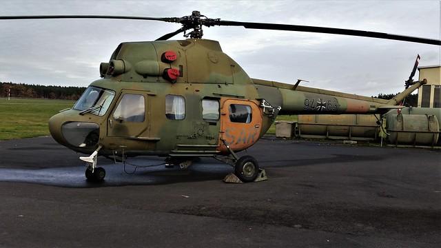 Mi-2 94+63 c/n 563148103. ex LTG-65 German-Air-Force/Luftwaffe (ex Nationale Volksarmee/NVA/LSK 393).  Preserved, Berlin-Gatow Luftwaffen Museum. 14 November 2017.