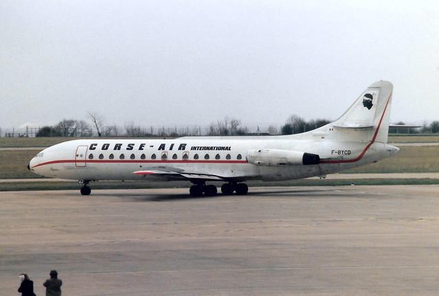 F-BYCD Sud SE-210 Caravelle VIN cn 67 Corse-Air International East Midlands 13Mar85 b