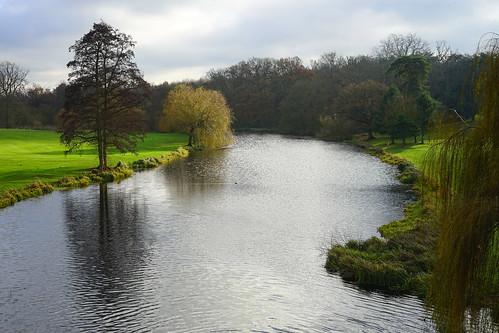 brocketpark lemsford hertfordshire herts river riverlea uk unitedkingdom gb britain british england english landscape view picturesque december verdant tranquility tranquil brockethall