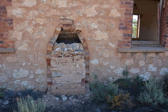 Seen from outside, remains of chimney stack of Mercunda Hall where school was conducted, Waikerie Line, South Australia