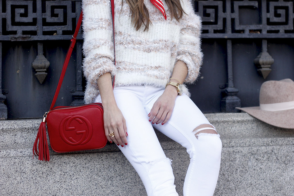 03a5fd0a1938 ... white outfit touch of red gucci bag primark hat winter outfit 201806 |  by BeSugarandSpice