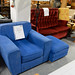 Blue fabric large armchair with footstool E80