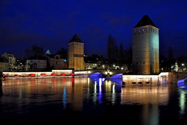 Ponts Couverts at blue hour Strasbourg