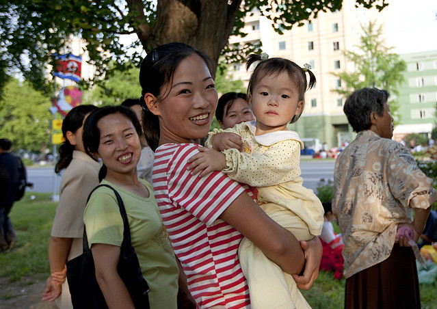 North Korean mother and child in the street, Pyongan Province, Pyongyang, North Korea
