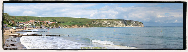 Swanage Bay in May 2017, across the bay is Ballard Down and Old Harry Rocks, Isle of Purbeck, Swanage, Dorset. England.
