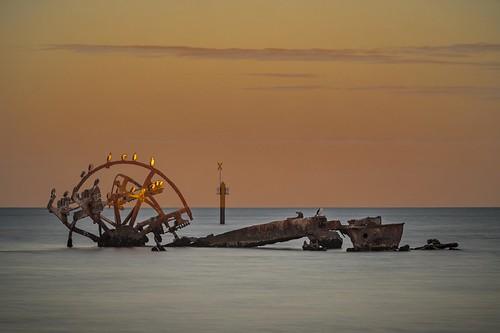 indentedhead victoria australia au wreck shipwreck beach water sea sunset birds geelong capturingthecoast