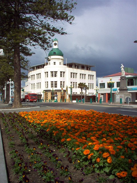 Napier. Art Deco city of New Zealand. The Temperance and General Insurance building with tower and clock built in 1936 after the 1931 earthquake