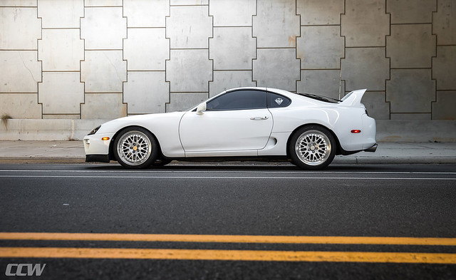 Super White Toyota Supra MKIV Turbo Targa Top - CCW Classic 3 Piece Forged Wheels