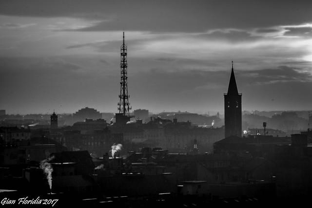 Milanese sunset monochrome
