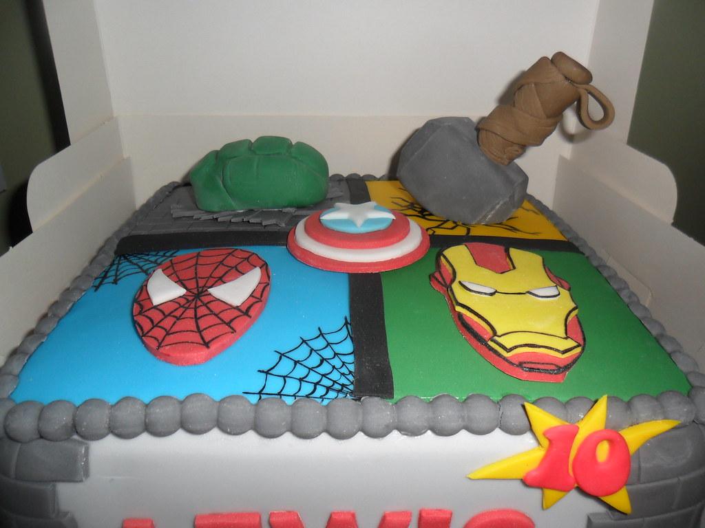 Miraculous Thor Spiderman Iron Man Huld Marvel Birthday Cake Elizabeth Flickr Funny Birthday Cards Online Drosicarndamsfinfo