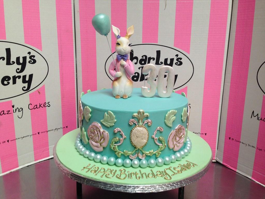 Single Tier 30th Birthday Cake In Aqua Fondant Icing With 3D Bunny Rabbit Balloon Figurine