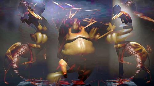 Liu Xue Hybrid Sculptures 22 extreme Körperdifferenzen der Saunafauna