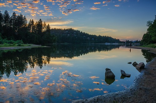 california longexposure trees sunset summer sky lake water forest reflections evening rocks crestline tranquil balmy 8101 lakegregory sanbernadinonationalforest richgreenephotographycom