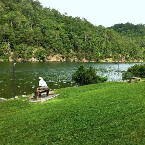 lake water man bench