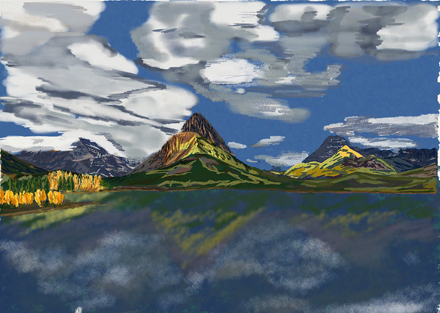 My Travels - Glacier National Park Swiftcurrent Lake and Mountains