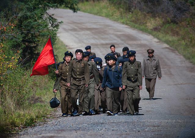 North Korean students walking on the steps of the nation's heroes in mount Paektu, Ryanggang Province, Samjiyon, North Korea