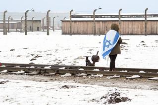 Birkenau jew girl with flag of Israel