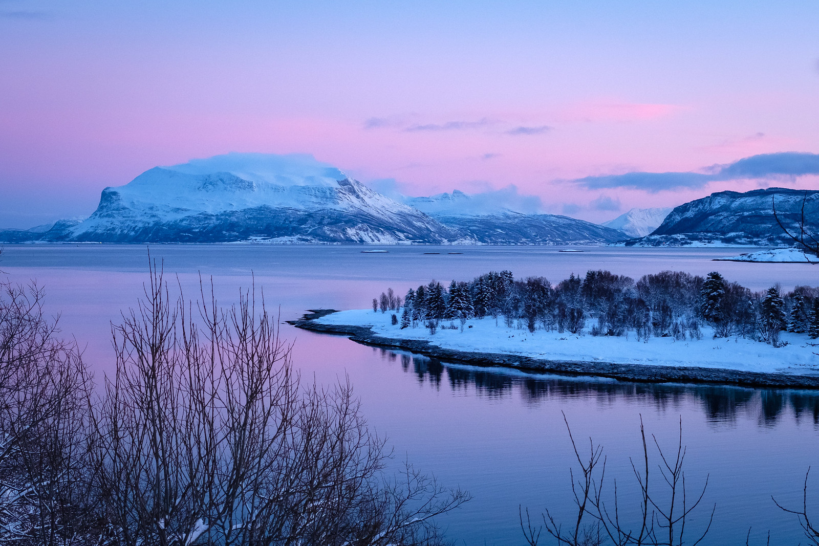 Pink january light over Rolløya.