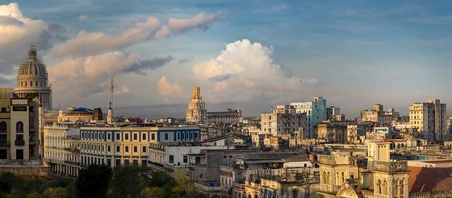 Old Havana rooftops at dusk