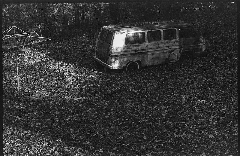 Billy's Corvair junkyard, clothesline stand, forest, deep shadows, Black Mountain, NC, FED 4, Industar 26, Ilford FP4+, Moersch Eco Film Developer, November 2017