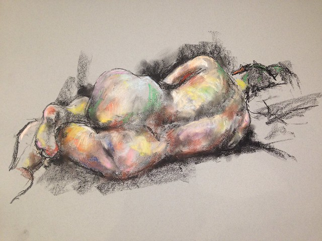Soft pastel and charcoal picture of Sofia, drawn at the Chingford life drawing group last Thursday.