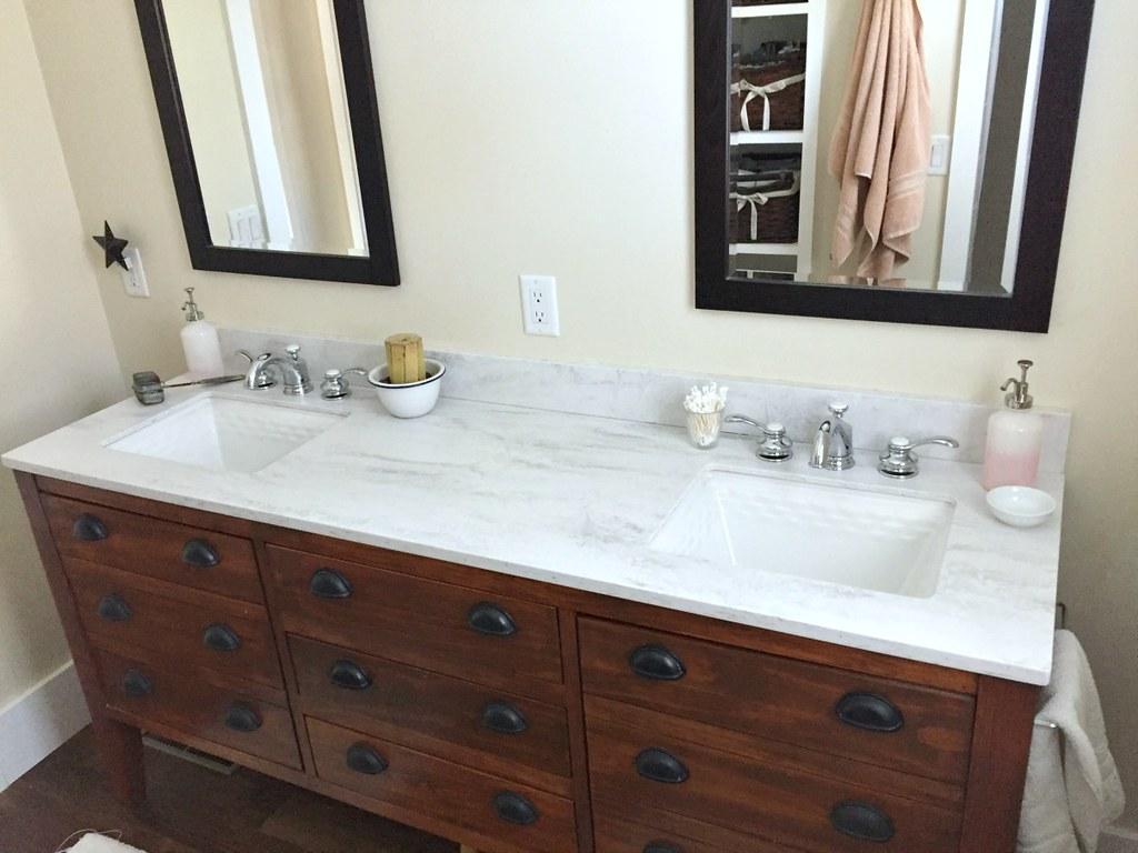 clean master bathroom vanity