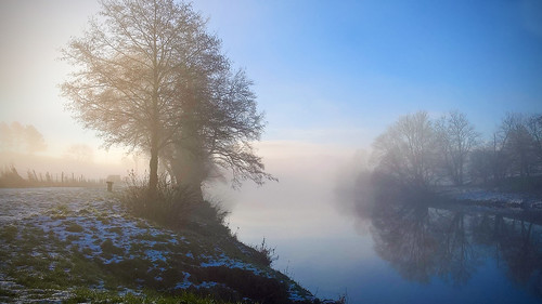 river north tyne mist frost cold ice northumberland