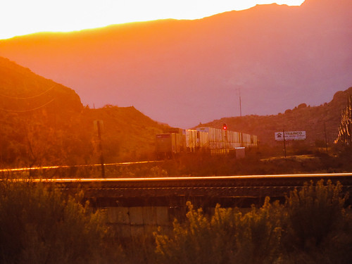 sunset us66 kingmancanyon i40 westbound trains landscape colors mohave county arizona