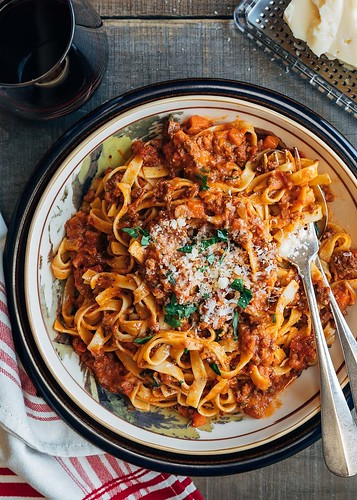 Instant Pot Bolognese Sauce served with Tagliatelle | by Striped Spatula