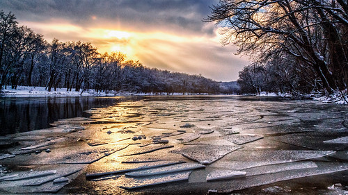 grandriver golden ice peaceful river snow sunset winter
