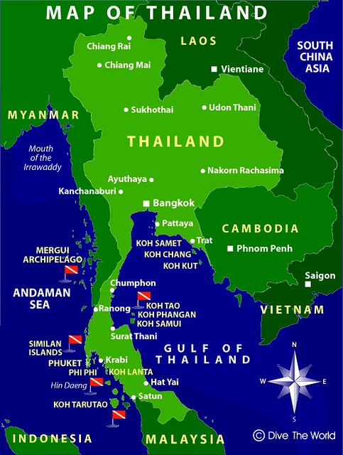 Map of Thailand, Contemporary | Showing the major cities and ...