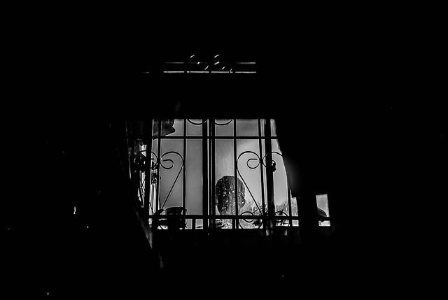 silhouette on window