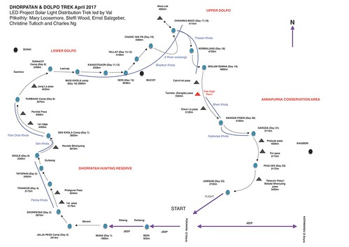 2017 Dolpa Trek - Route map by Charles Ng | by Mary Loosemore