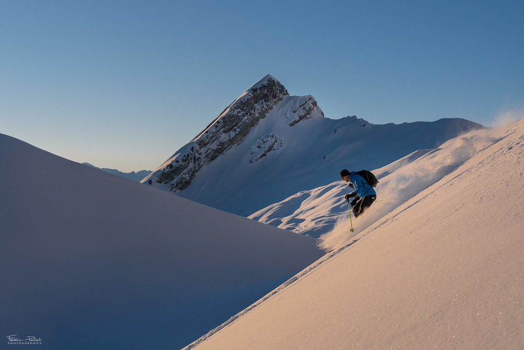 Ski at sunrise