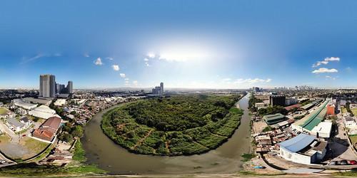 dji drone skyline green birdview