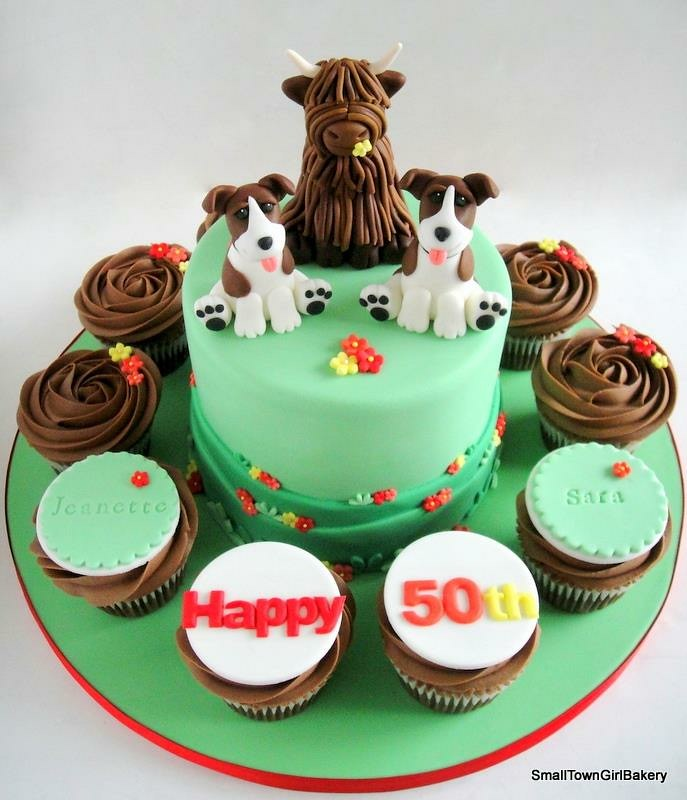 Magnificent 50Th Birthday Cake With Highland Cow And Dog Toppers Flickr Funny Birthday Cards Online Overcheapnameinfo