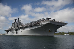 USS America (LHA 6) approaches the piers at Joint Base Pearl Harbor-Hickam, Jan. 23. (U.S. Navy/MC1 Corwin Colbert)