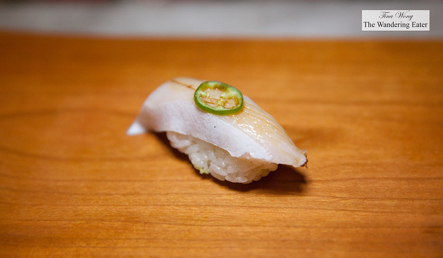Kanpachi (Amberjack) topped with jalapeno with soy sauce