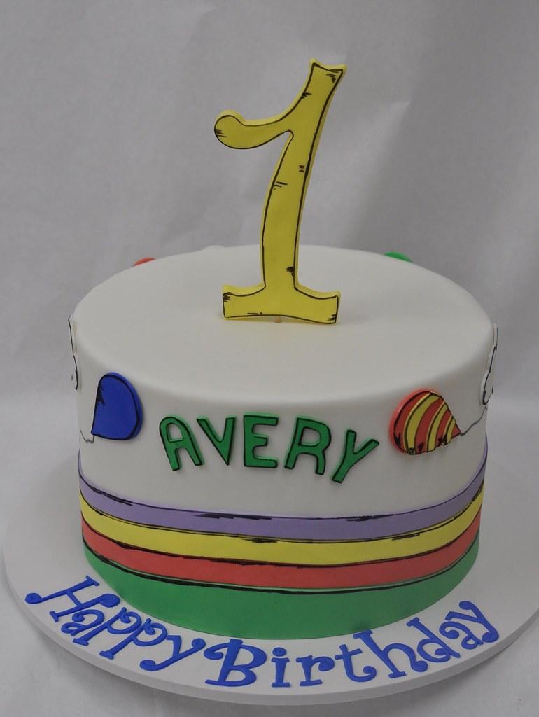 Phenomenal Dr Seuss Themed First Birthday Cake Jenny Wenny Flickr Funny Birthday Cards Online Overcheapnameinfo