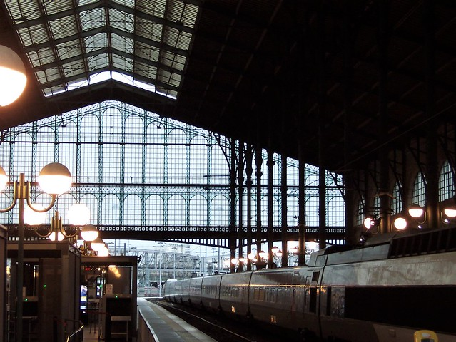 Lovely station lighting and glasswork, with the Eurostar