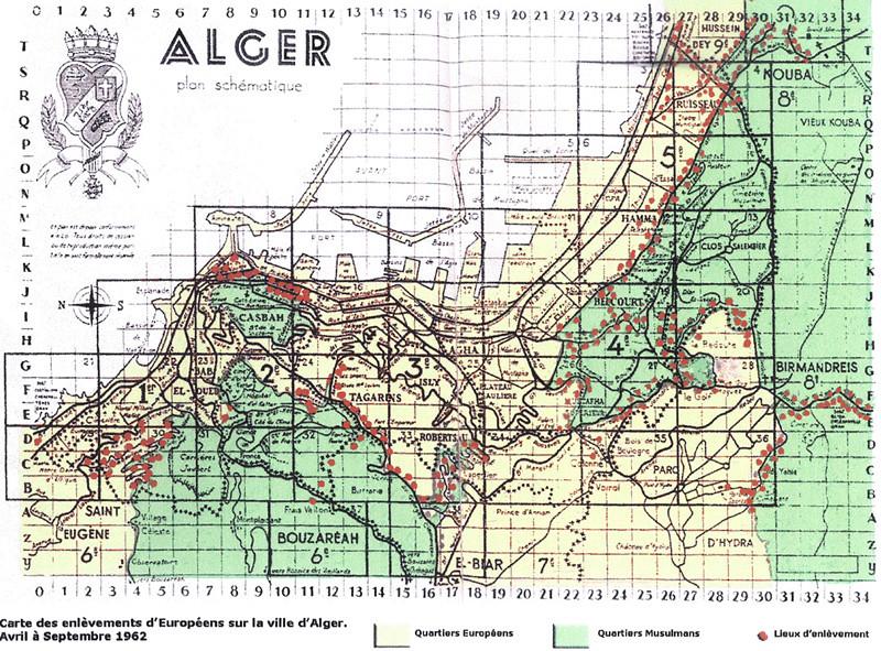 Carte des enlèvements d'Européens sur la ville d'Alger