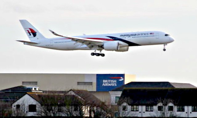 Malaysia Airlines Airbus A350-900 9M-MAD first visit London Heathrow Airport webcam capture