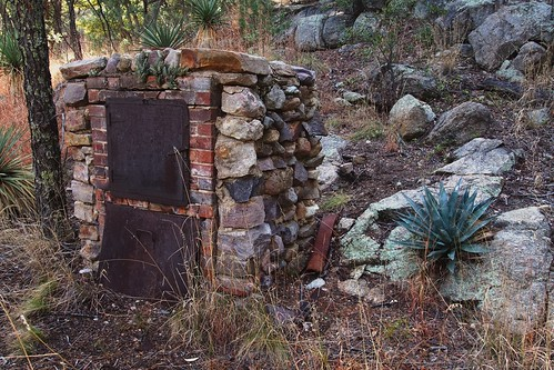 olympuspenliteepl5 edk7 2013 usa arizona hereford thenatureconservancy ramseycanyonpreserve uppersanpedroriverbasin apachehighlandsecoregion miningcamprelics landscape park woods forest rock tree leaf rust brick fieldstone door pipe ruin abandoned industrial