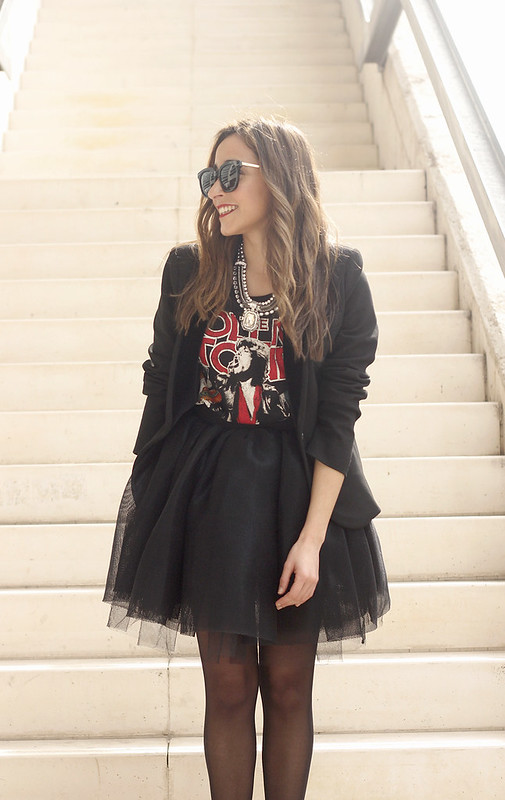 Tulle black skirt blazer maje heels coach bag necklace uterqüe madrid fashion week street style fashion outfit12